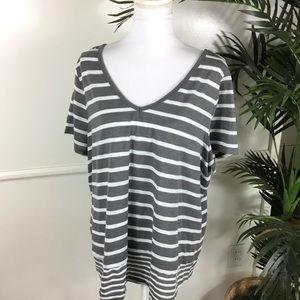 Lane Bryant Gray White Striped Top Womens 22/24
